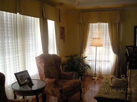 Valances and side panels from full size drapes