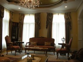 Pinch pleated panels with decorative swags 03