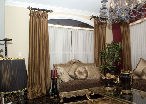 Pleated panels with valance top