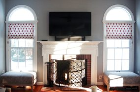 Contamporary flat roman shades for Family room windows