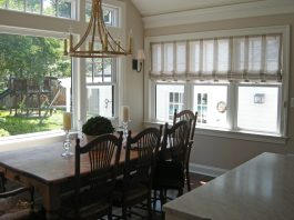 Unlined sheer roman shades for family room