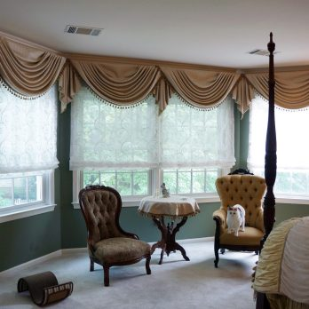Soft swags for bay windows in bedroom