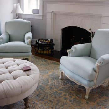 Custom upholstered armchair and ottoman 04