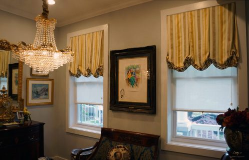 Lined London shades Inside mounted