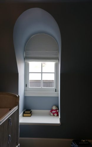 Black out lined Roman shade for arched window 03