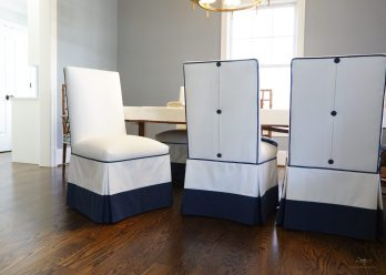 Custom upholstered slipcovers for dining room chairs
