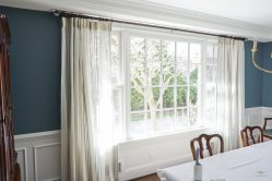 Off white curtains in Dining Room
