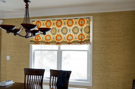 Lined flat roman shade for dining room window