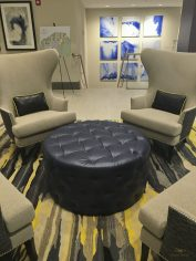 Custom upholstered armchair and ottoman 03