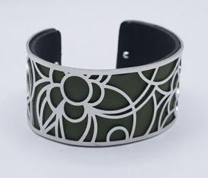 bracelet argenté noir et kaki e dressing des copines