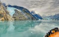 Ship, water, glacier, rock