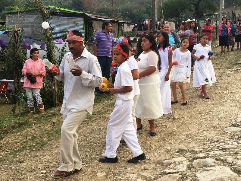 Pame people dancing in celebration of their new bishop.