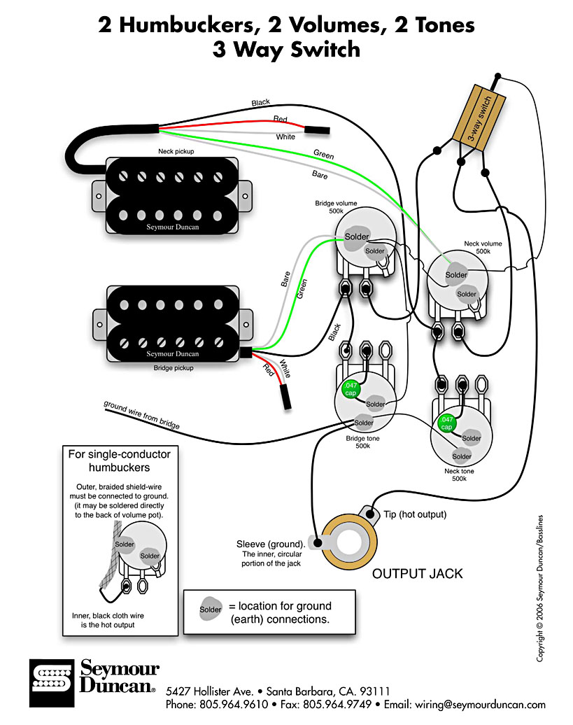hagstrom swede wiring diagram tree game electronics and shielding ed s guitar lounge standard les paul courtesy of seymour duncan