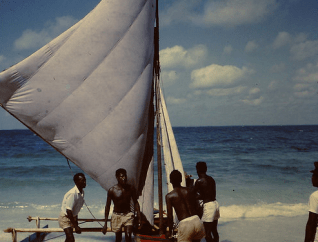 Sailboat on the beach in Chagos