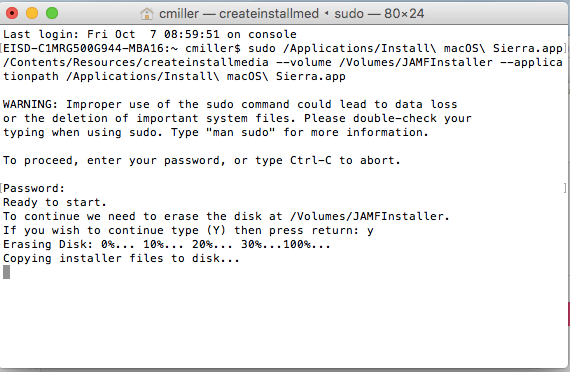 Mac OS Sierra bootable installer Terminal progress MacBook EdTechChris.com