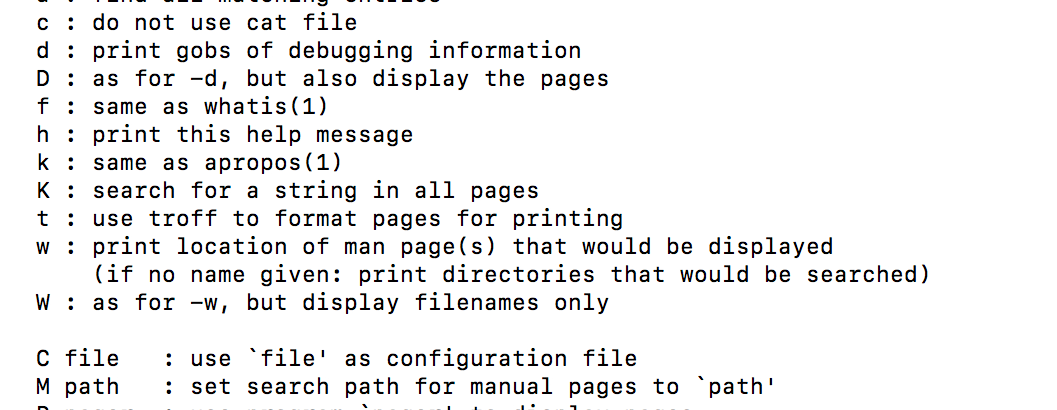 Apple macOS Terminal man pages