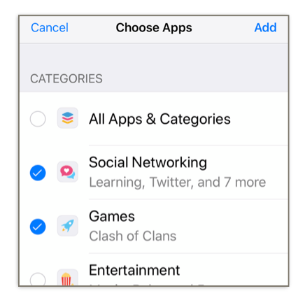 Screen Time lets you set app limits based oncategories, butyou can also set limits onindividual apps.