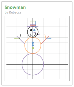 Desmos online graphing calculator snowman image