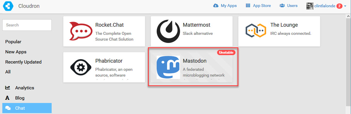 Screenshot that shows Cloudron interface