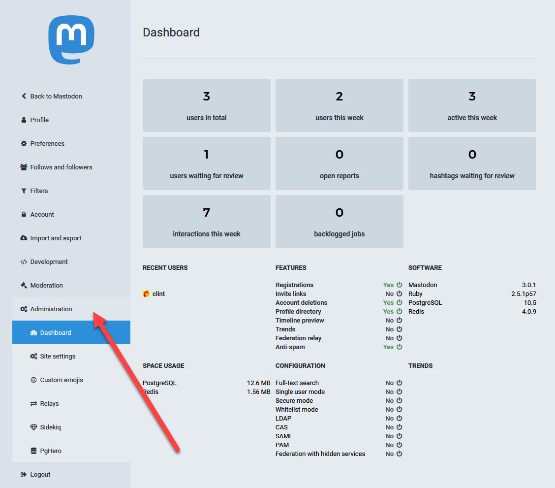 Screenshot of administrative section of Mastodon under user preferences