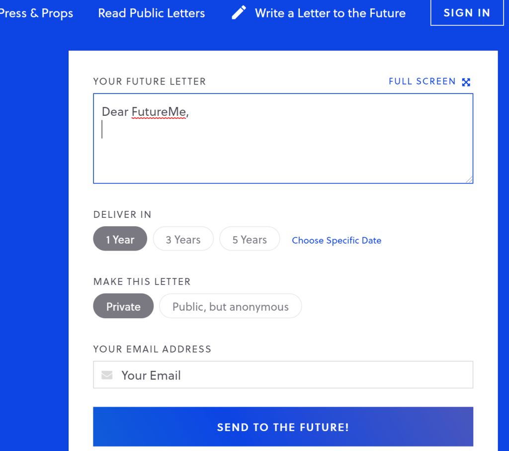 Screenshot of the FutureMe homepage. Space to write followed by fields for delivery date and email address.