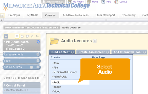 """Select """"Audio"""" from the Build menu"""