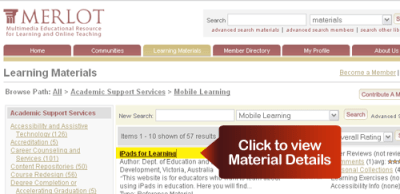 """Click """"Material Details"""" to Learn More About Resource"""