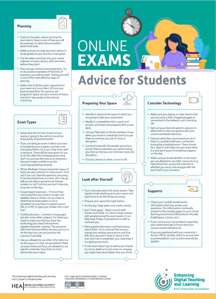 Image of infographic, EDTL Approach for Students, Online Exams