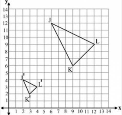 Triangle J′K′L′ shown on the grid below is a dilation of triangle JKL using the origin as the center of dilation: Two triangles