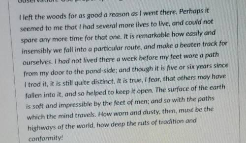 Read the following excerpt from an essay by Henry David