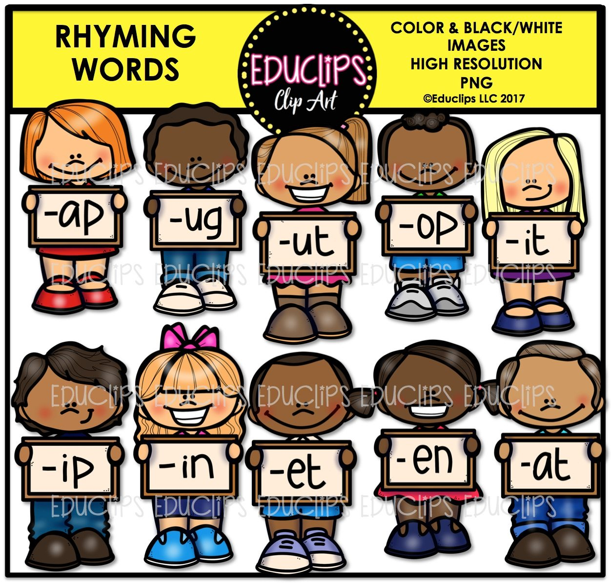 Rhyming Words Clip Art Big Bundle Color And B Amp W