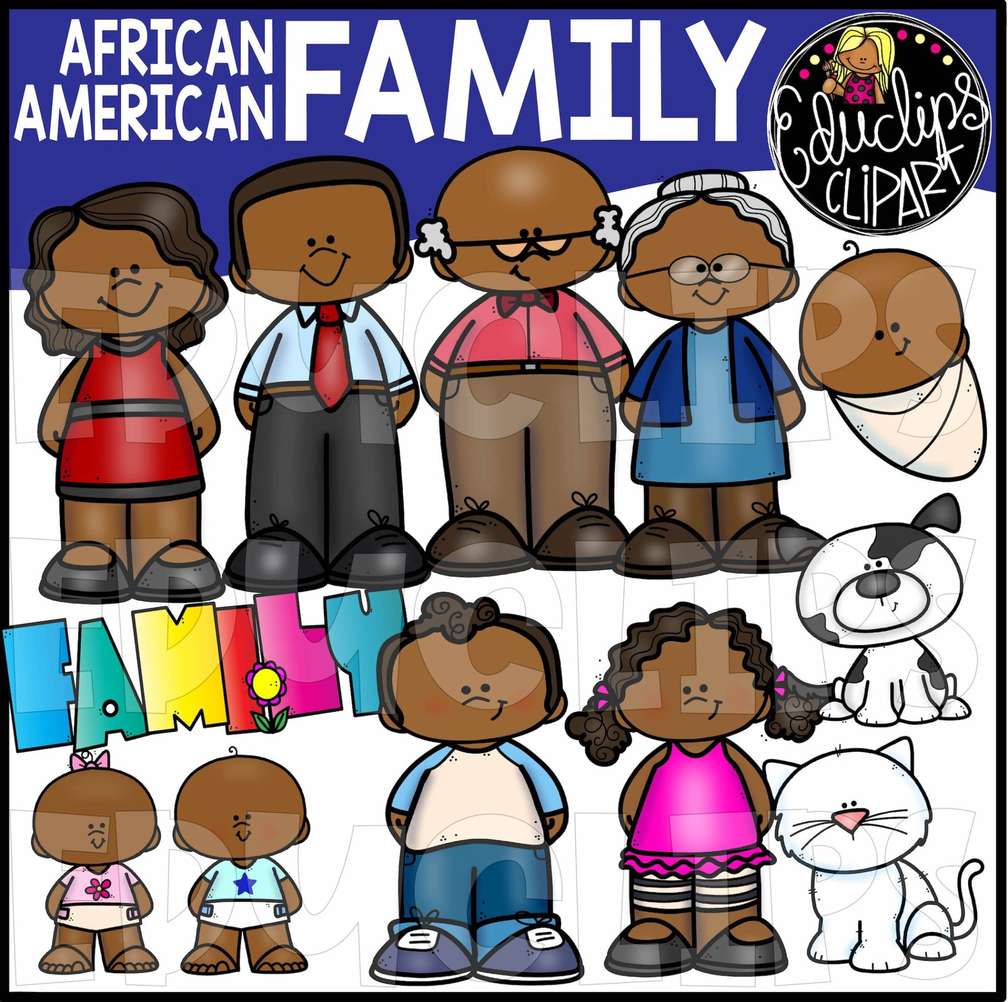 hight resolution of african american family clip art