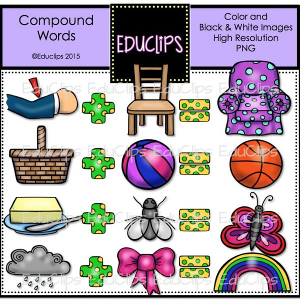 Compound Words Clip Art Bundle Color And BampW Welcome