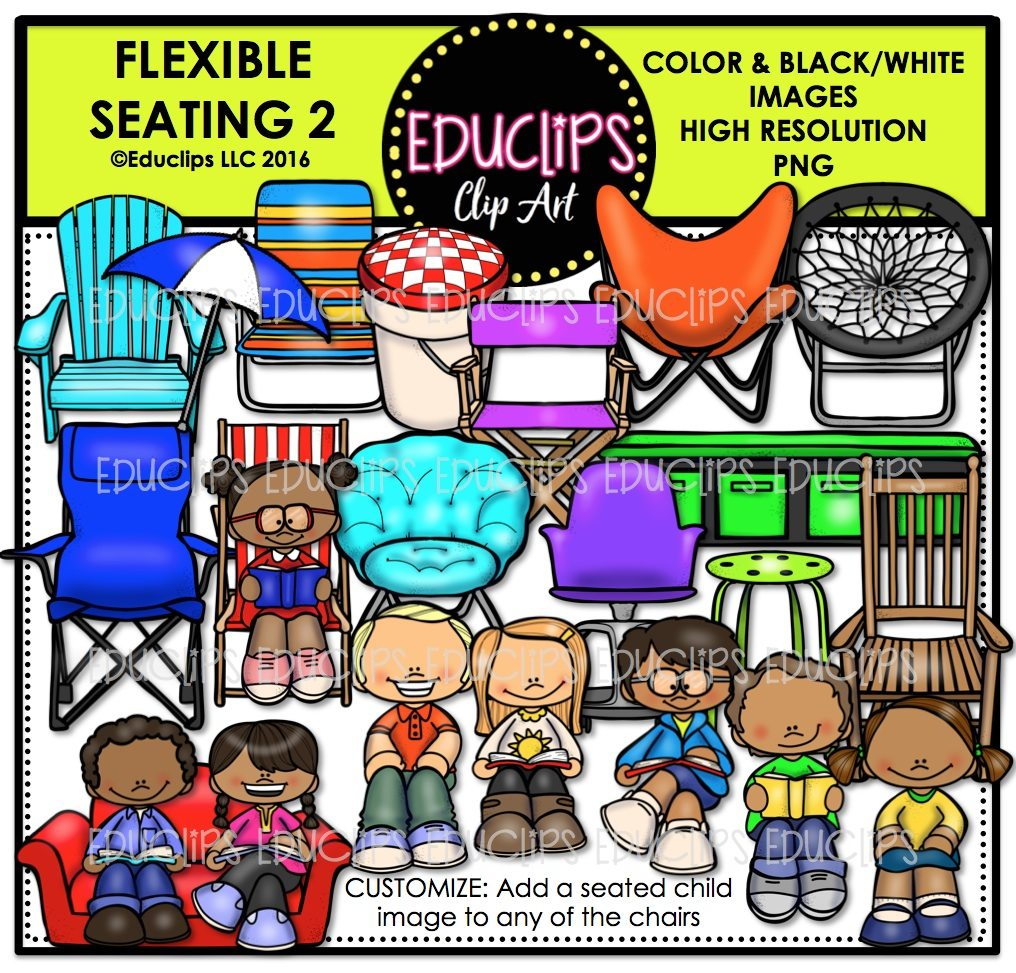 Flexible Seating 2 Clip Art Bundle Color and BW