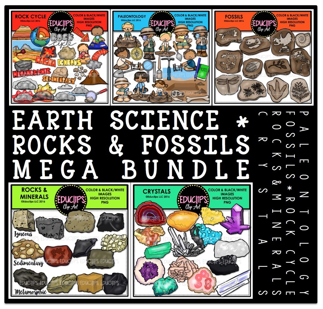 Earth Science Rocks Amp Fossils Clip Art Big Bundle Color