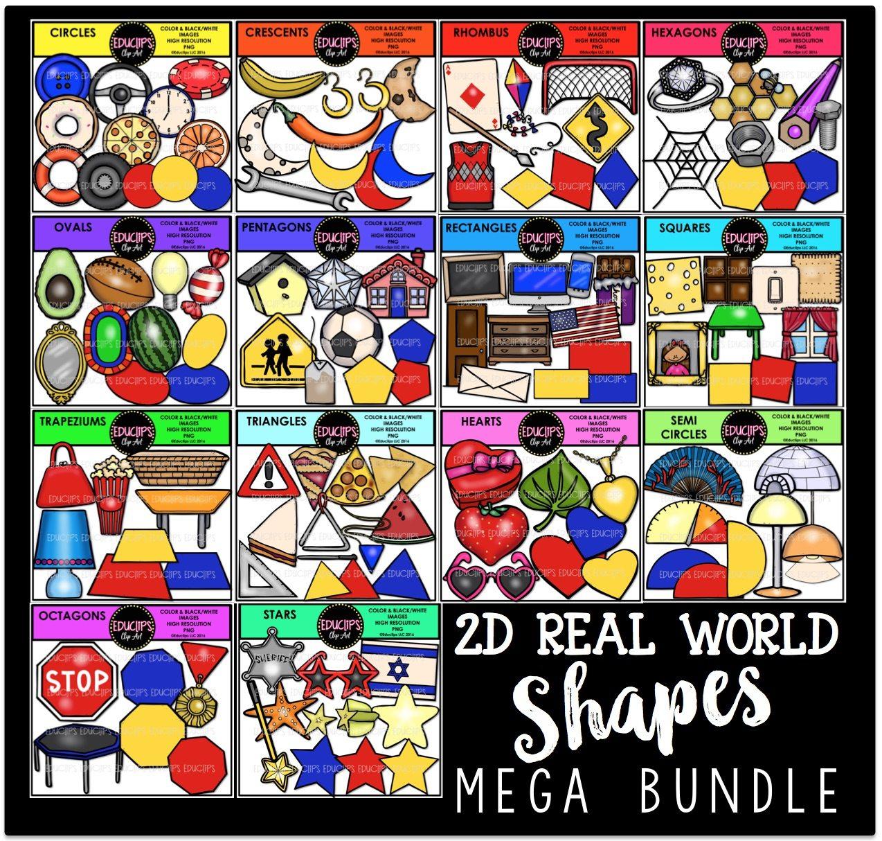 2d Real World Shapes Clip Art Mega Bundle Color And B Amp W