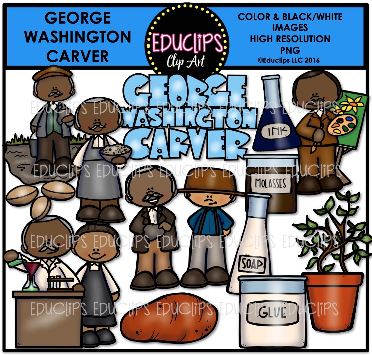 George Washington Carver Clip Art Bundle Color And B Amp W