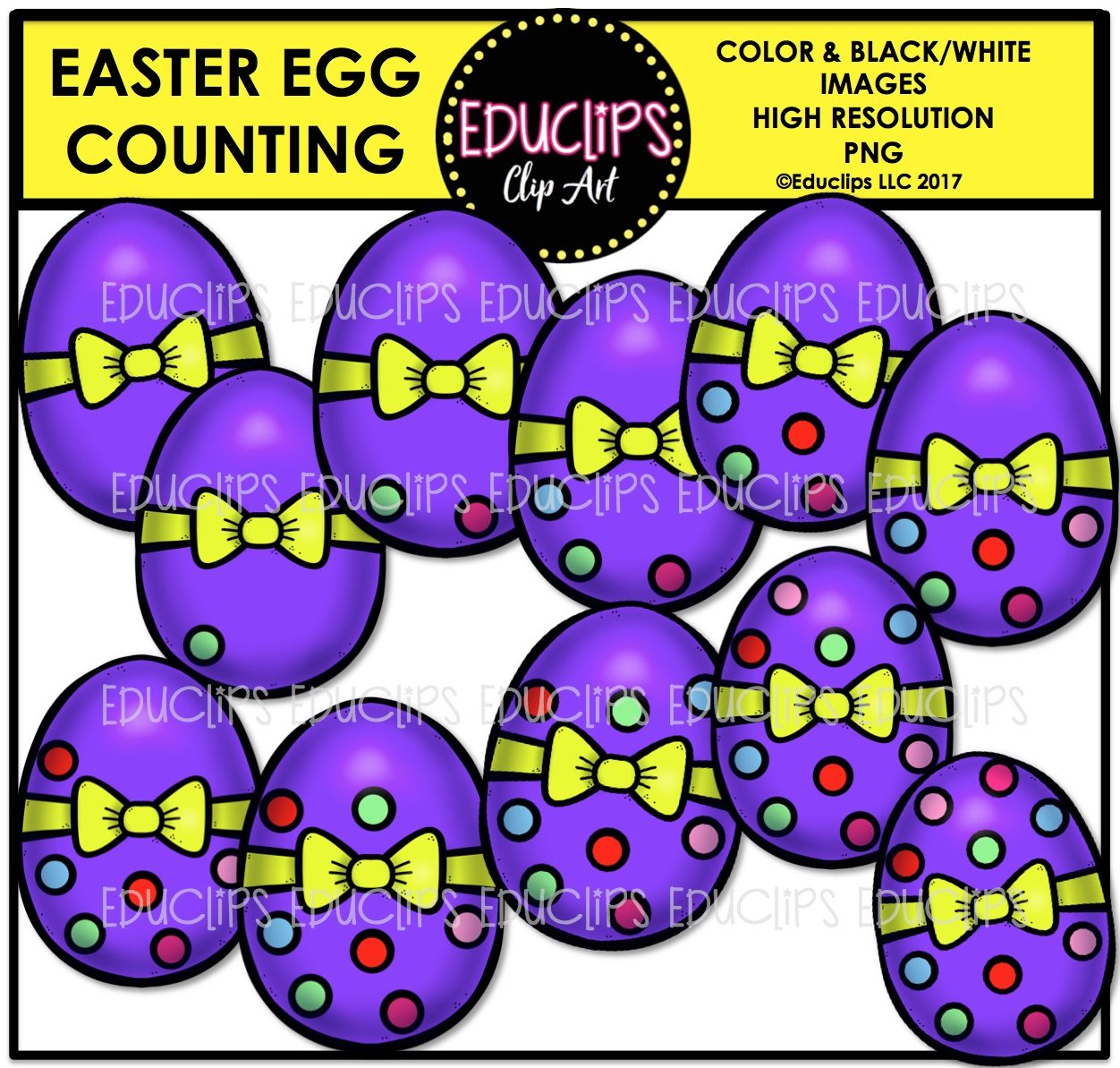 Easter Counting Clip Art Big Bundle Color And B Amp W