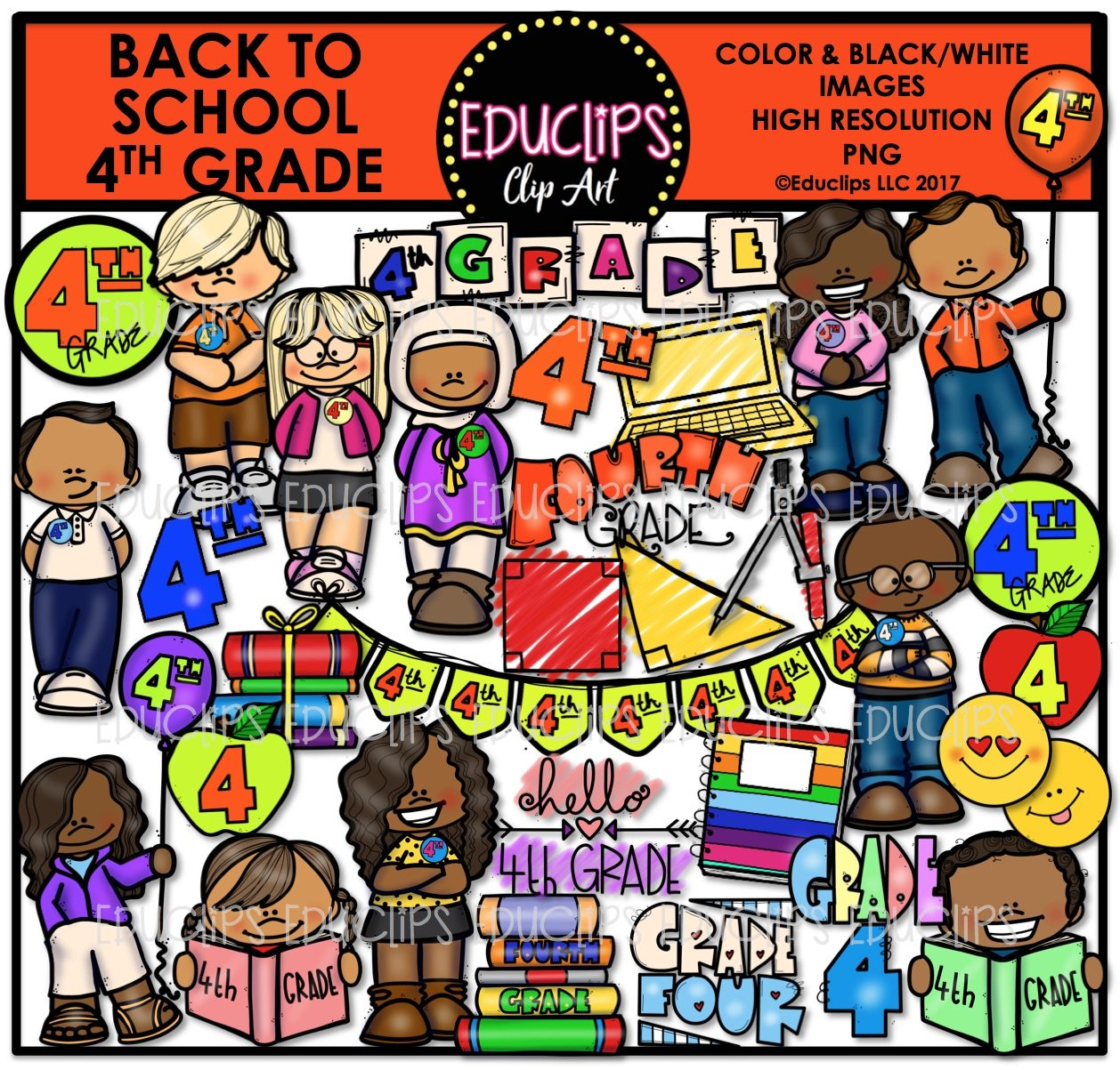 Back To School Fourth Grade Clip Art Bundle Color And B Amp W