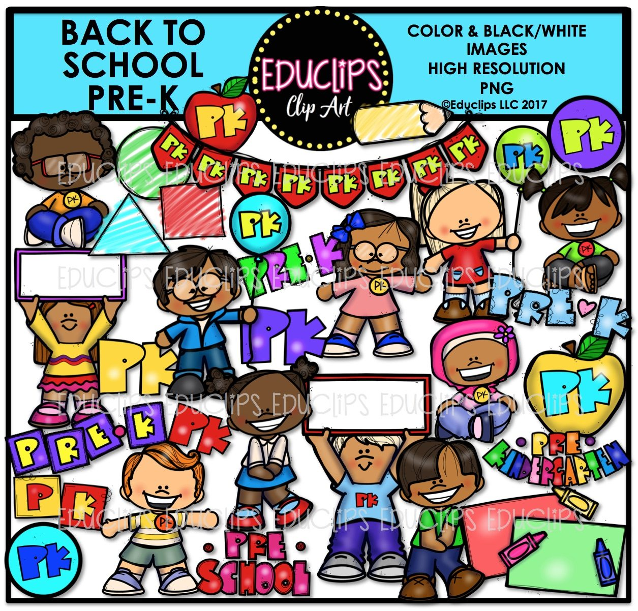 Back To School Pre K Clip Art Bundle Color And B Amp W