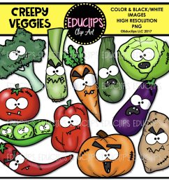 creepy halloween clip art big bundle color and b w  [ 2572 x 2466 Pixel ]