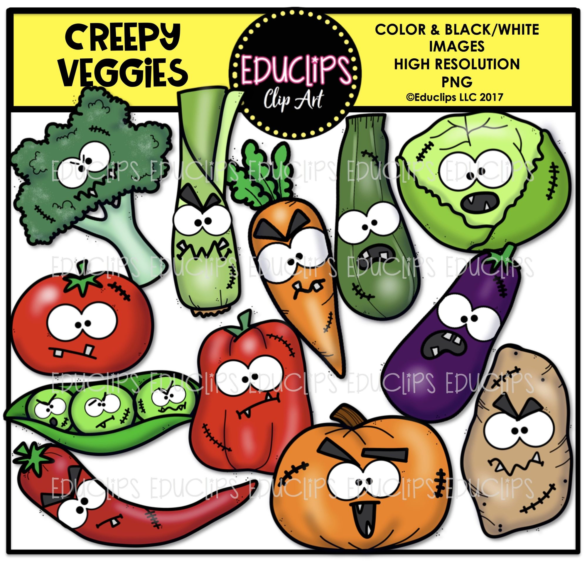 hight resolution of creepy halloween clip art big bundle color and b w