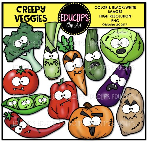 small resolution of creepy halloween clip art big bundle color and b w