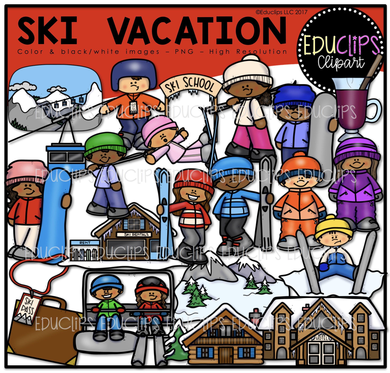 Ski Vacation Clip Art Bundle Color And B W Edu Clips