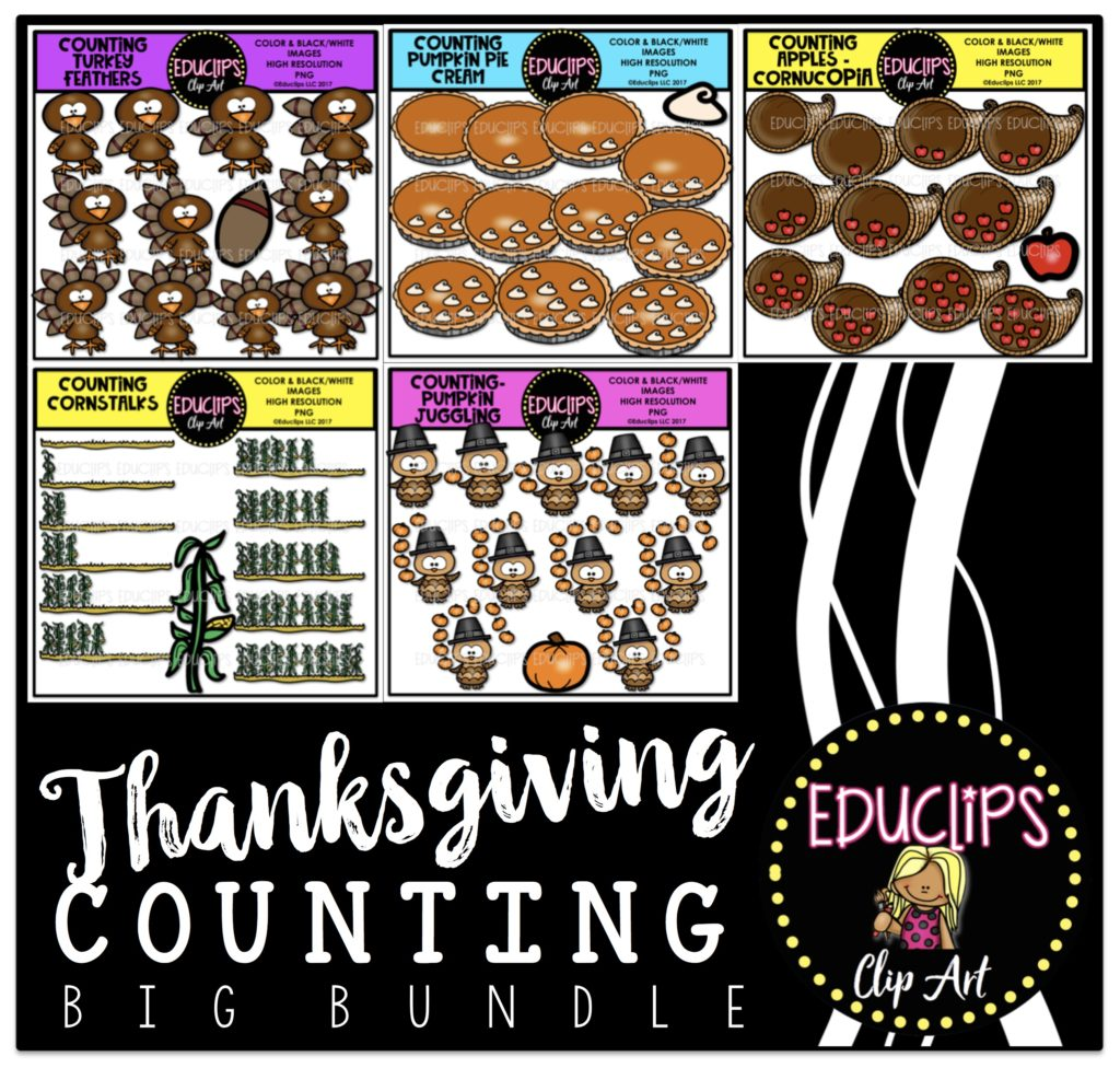 Thanksgiving Counting Clip Art Big Bundle Color And B Amp W