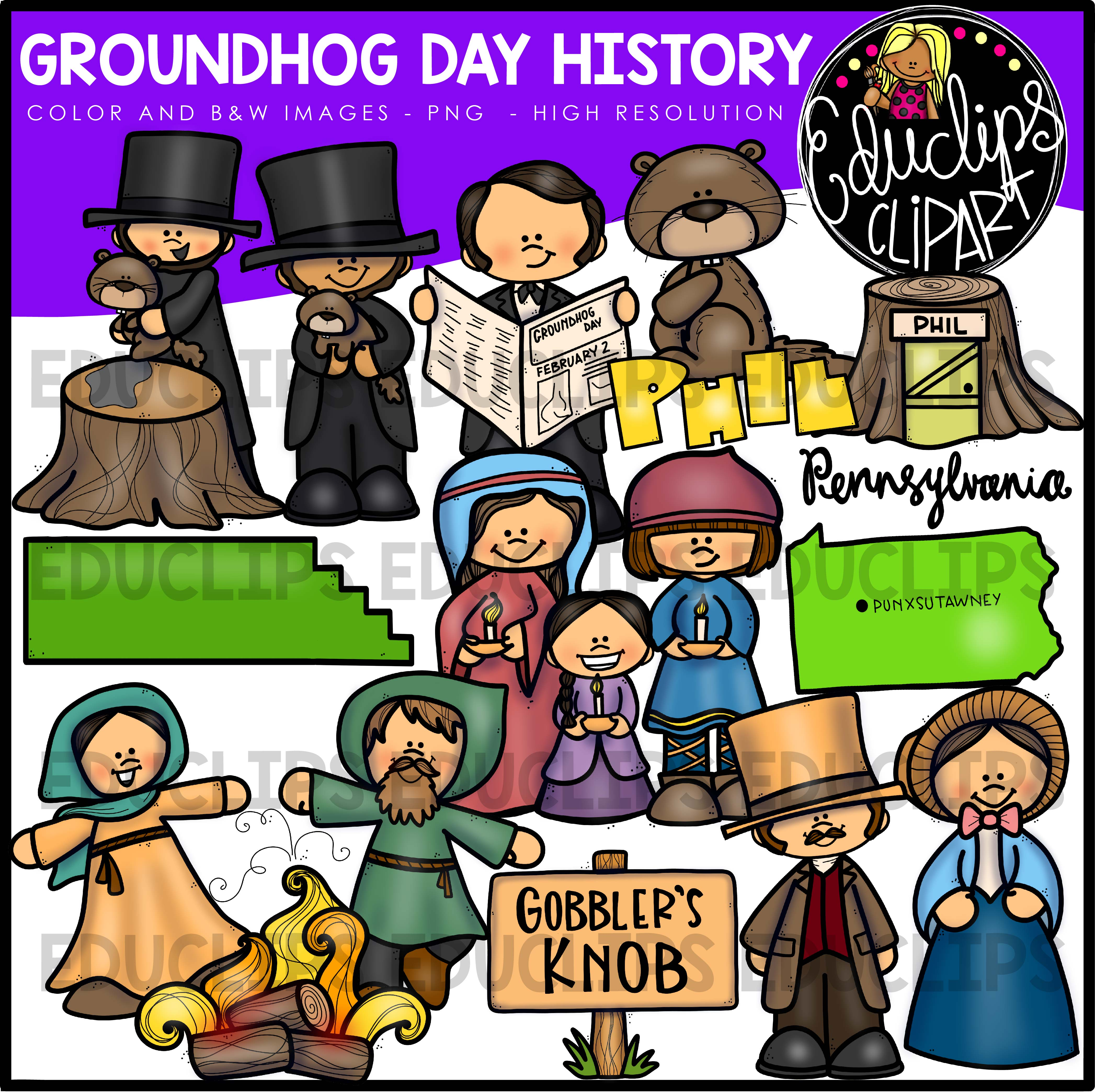 Groundhog Day History Clip Art Bundle Color And B Amp W