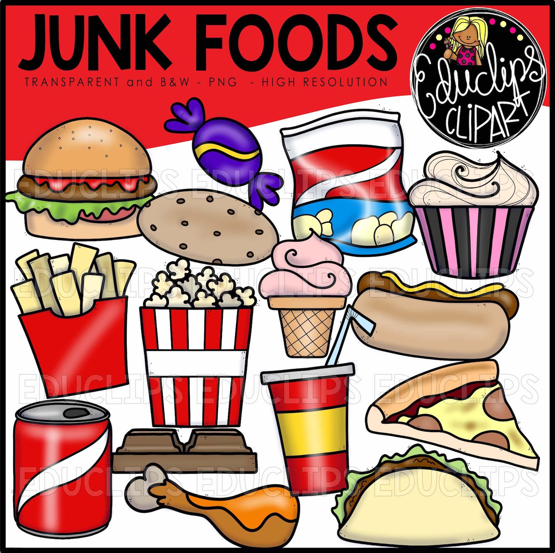 Junk Foods Clip Art Bundle Color And B Amp W