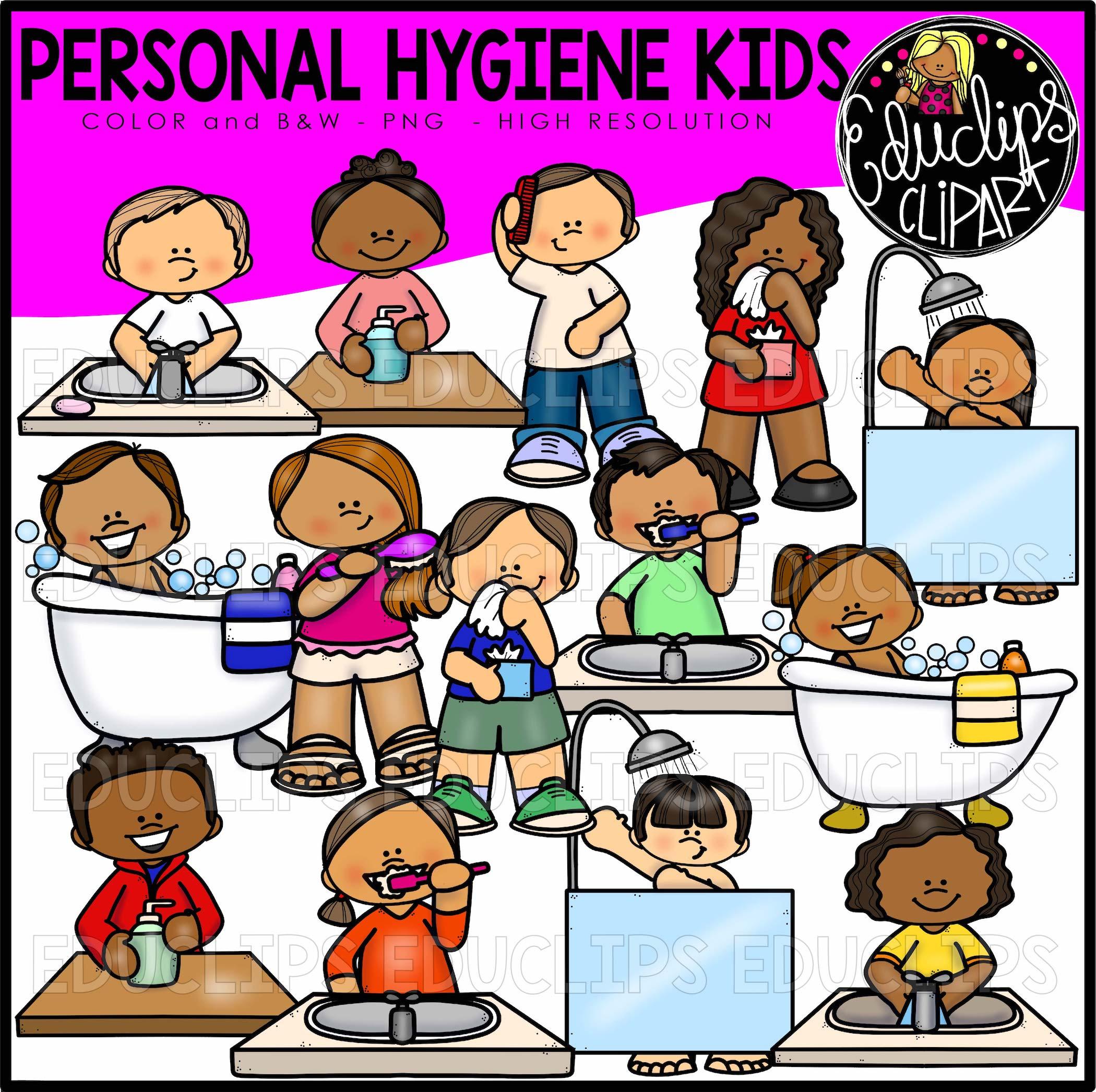 Personal Hygiene Kids Clip Art Set