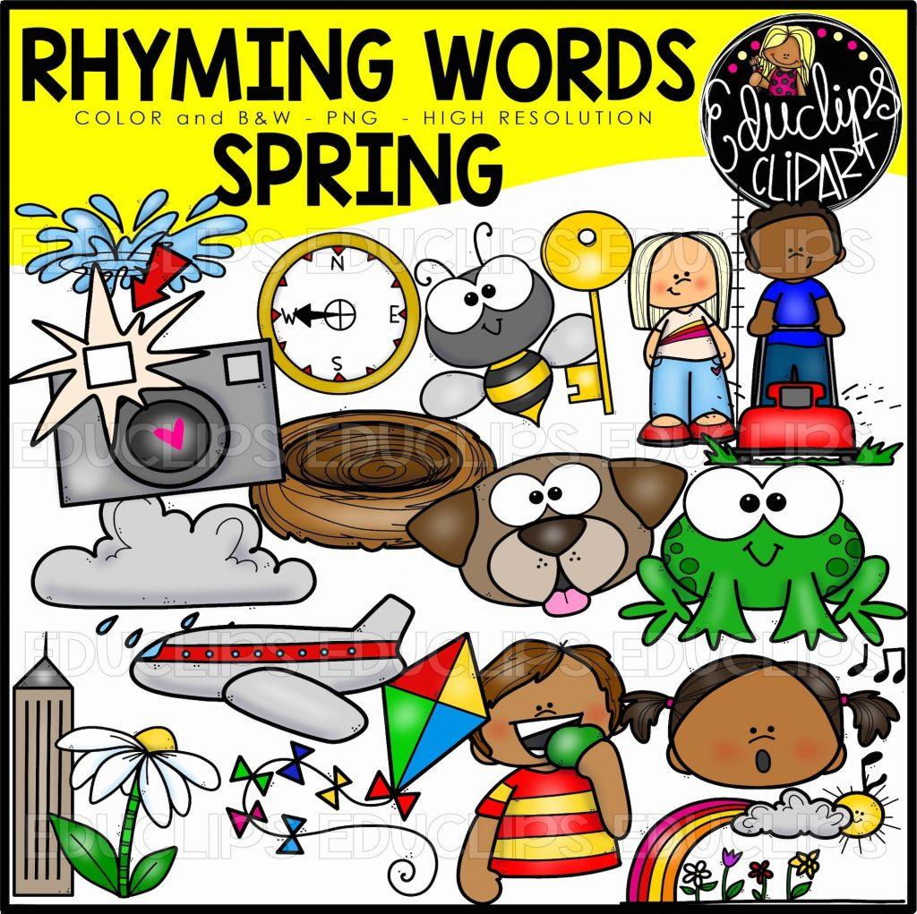 Spring Rhyming Words Clip Art Set