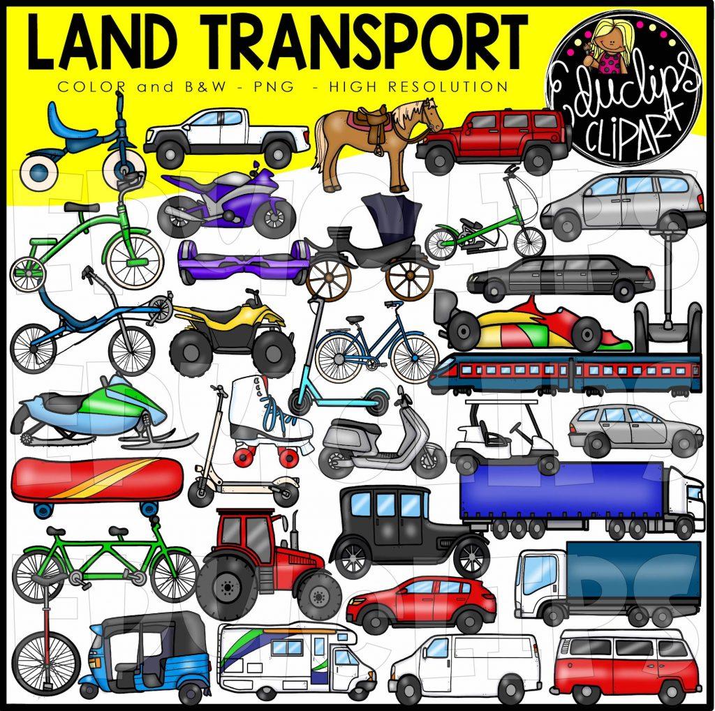 Land Transport Clip Art Set